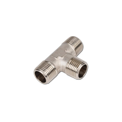 Brass nickel-plated T type fittings triple male thread
